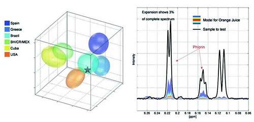 NMRによるフルーツジュースの解析例