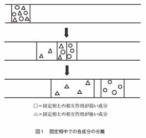 固定相内での各成分の分離