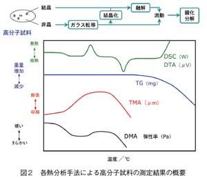 各熱分析手法による高分子試料の測定結果の概要